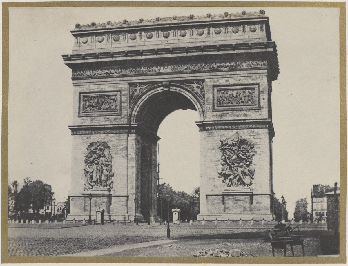 The Arc de Triomphe in Paris in an 1800s photo with no people present