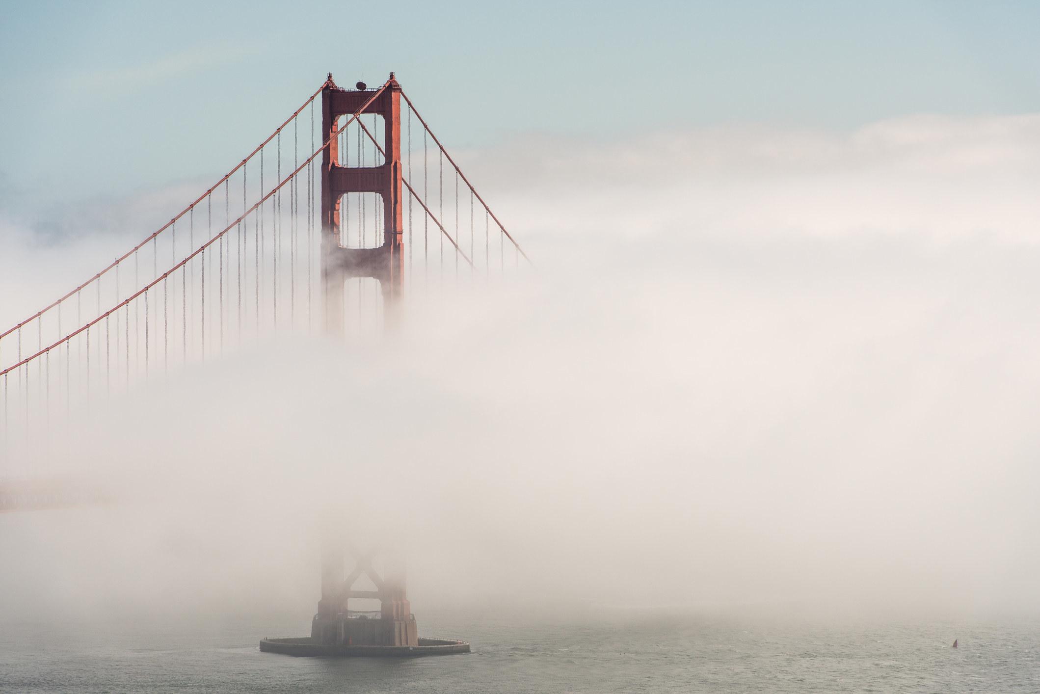 Fog surrounding the Golden Gate Bridge.