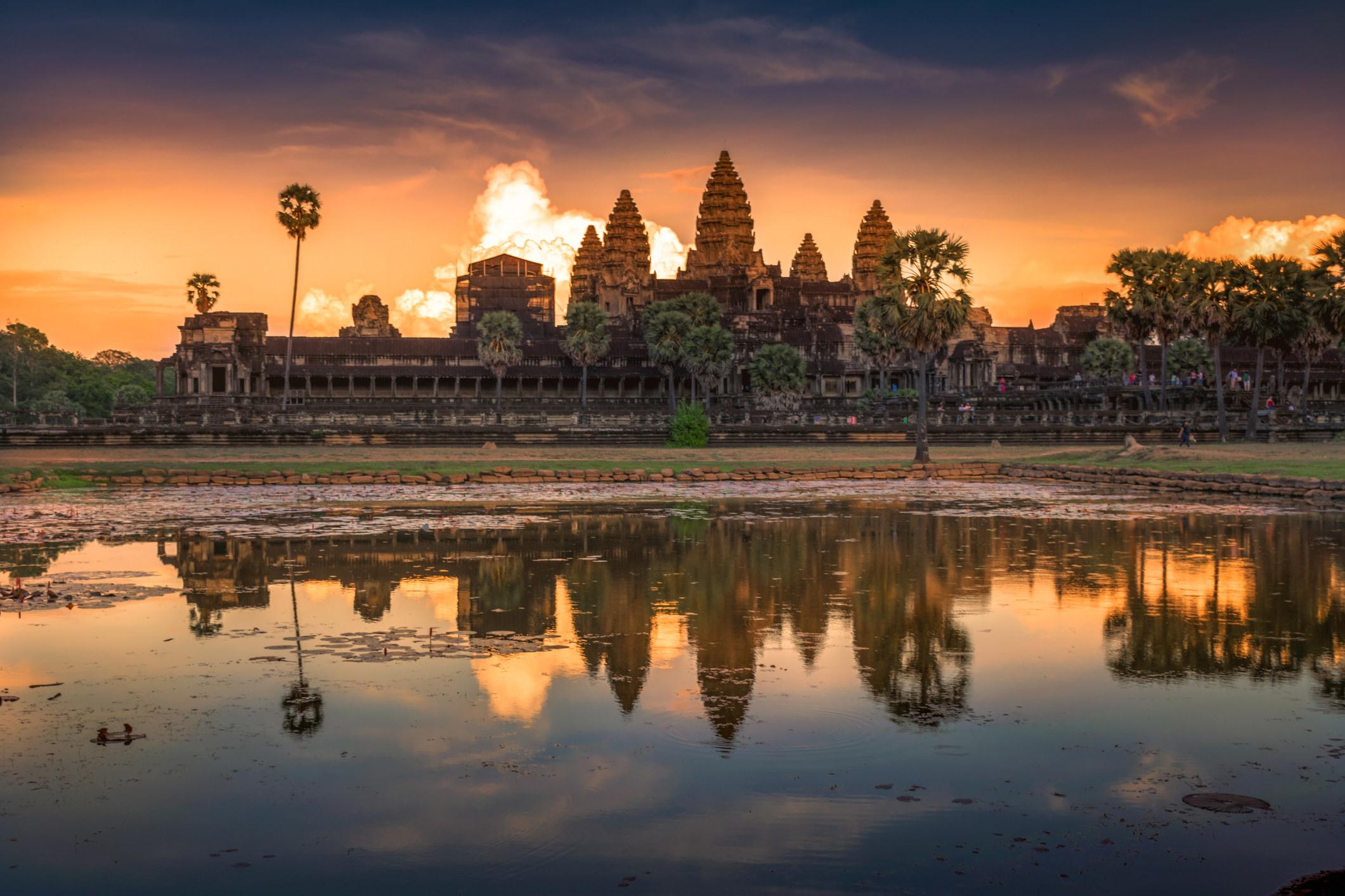 Sunset over Angor Wat.