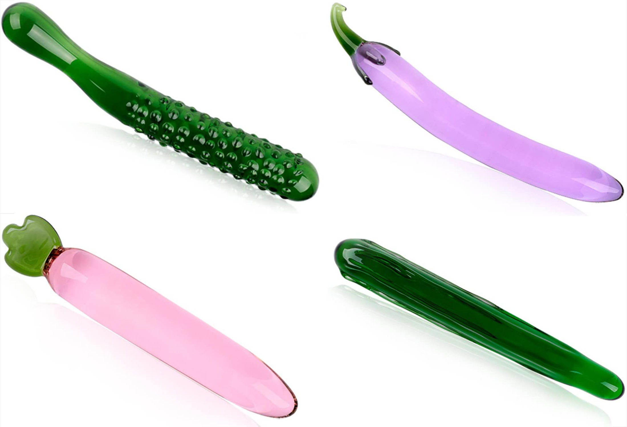 Green luffa glass dildo, purple eggplant glass dildo, pink carrot glass dildo and green cucumber glass dildo