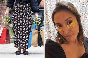on left, model uses grocery bag holders in both hands to carry multiple shopping totes. on right, BuzzFeed writer Jasmin Sandal wears gold under-eye masks to reduce dark circles