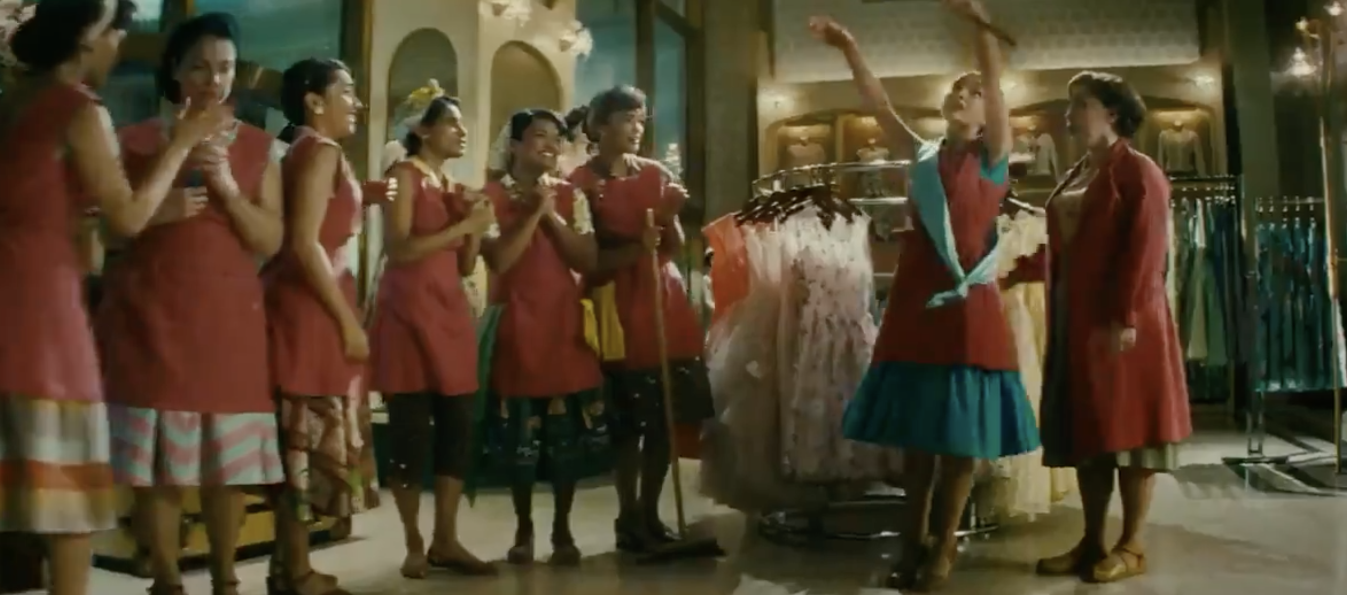 A group of women in what looks like a department store