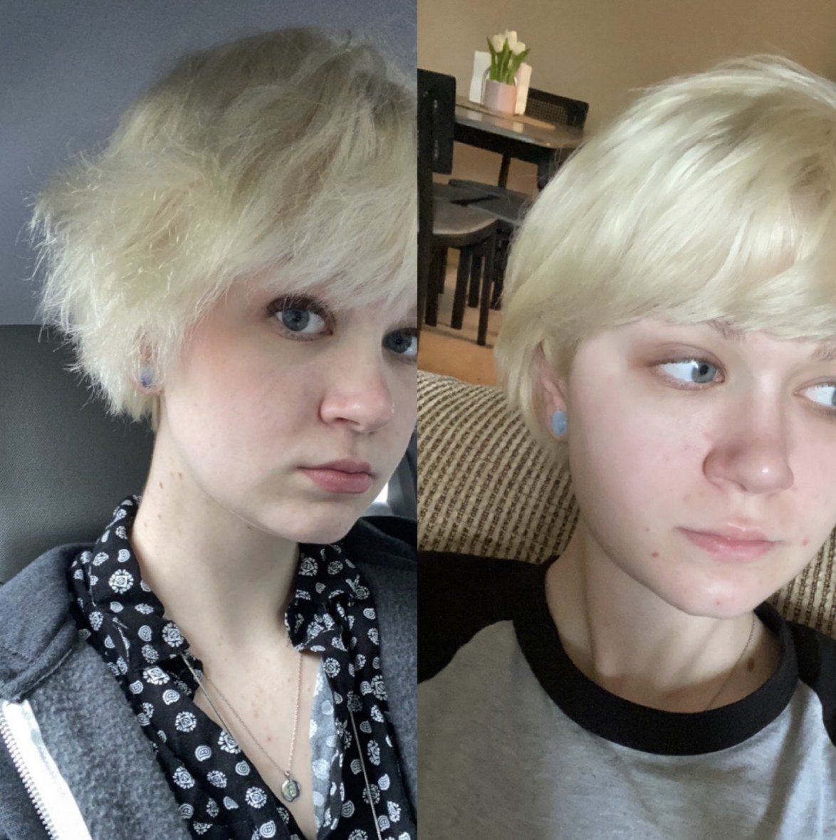 reviewer showing their hair before and after using the hair treatment