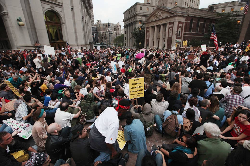 Group of protesters gathered outside City Hall in New York