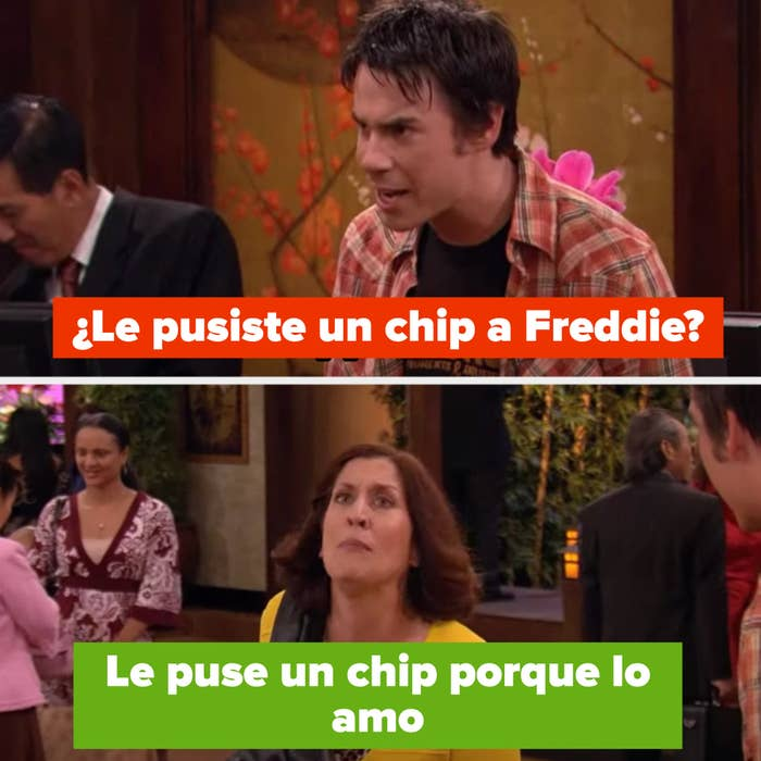 """Spencer: """"you chipped Freddie?"""" Mrs. Benson: """"I chipped him because I love him!"""""""