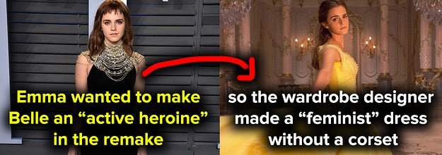 Emma Watson wanted to make Belle an active heroine, so the wardrobe designer made a