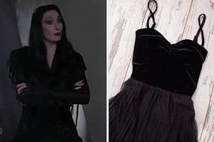 Morticia is folding her arms on the left with a black dress on the right