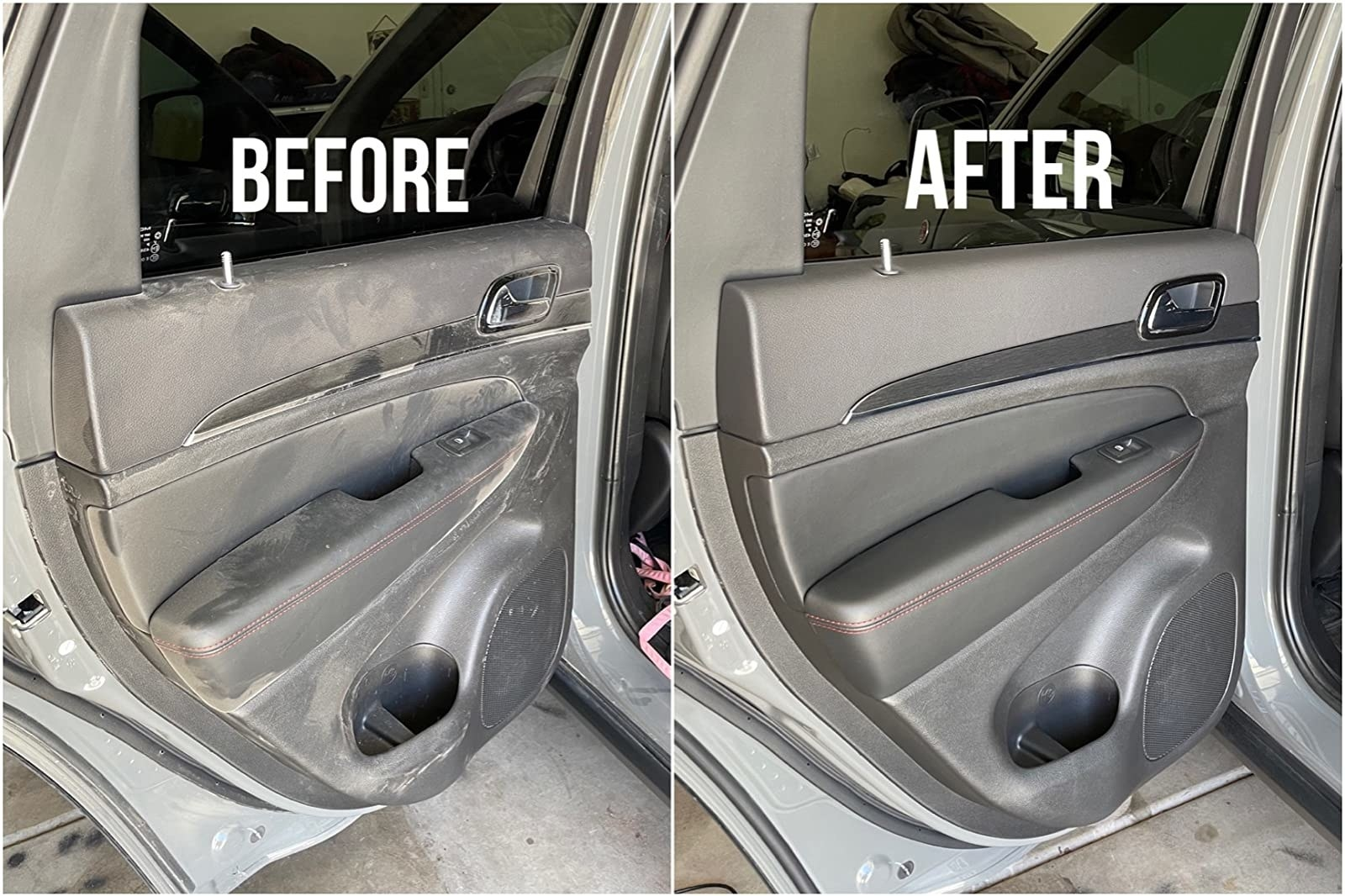 Reviewer's before-and-after results of using interior cleaner