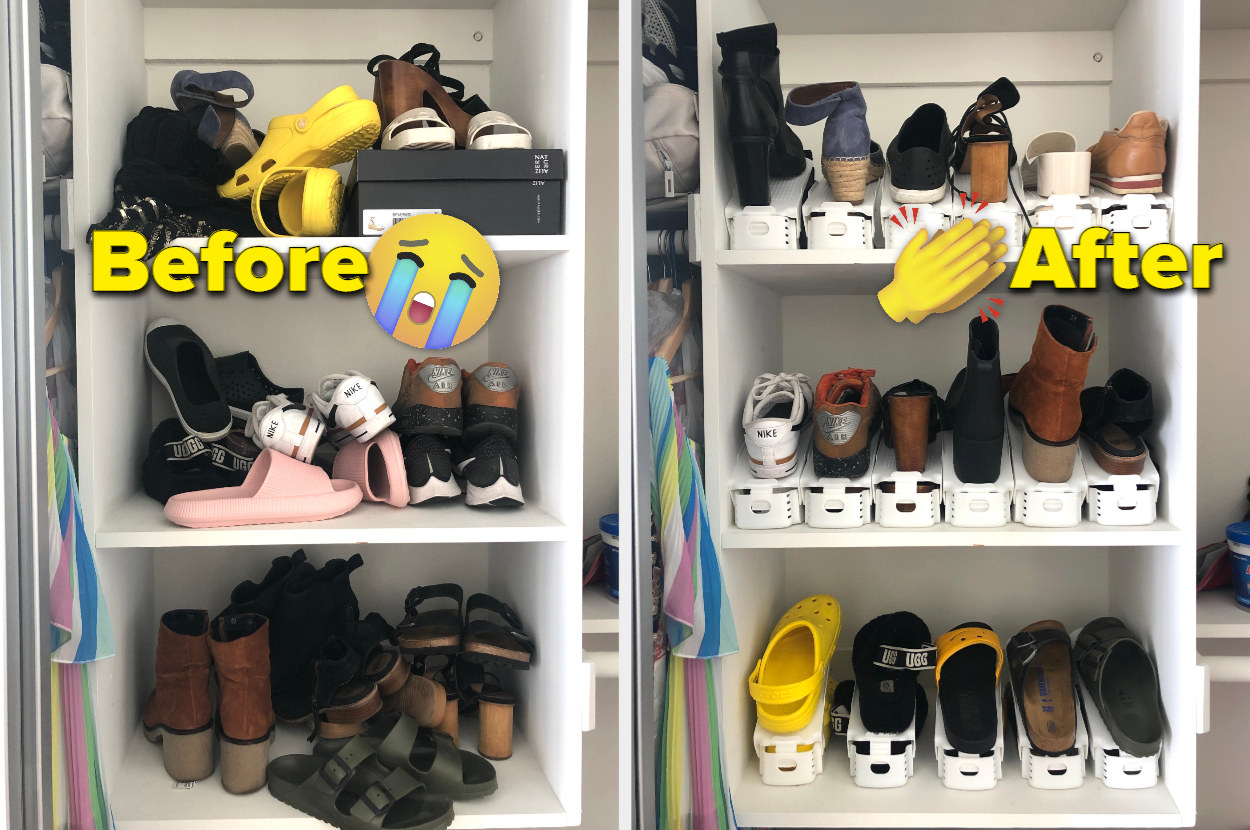 A before and after photo of a organized shoe collection and an organized one