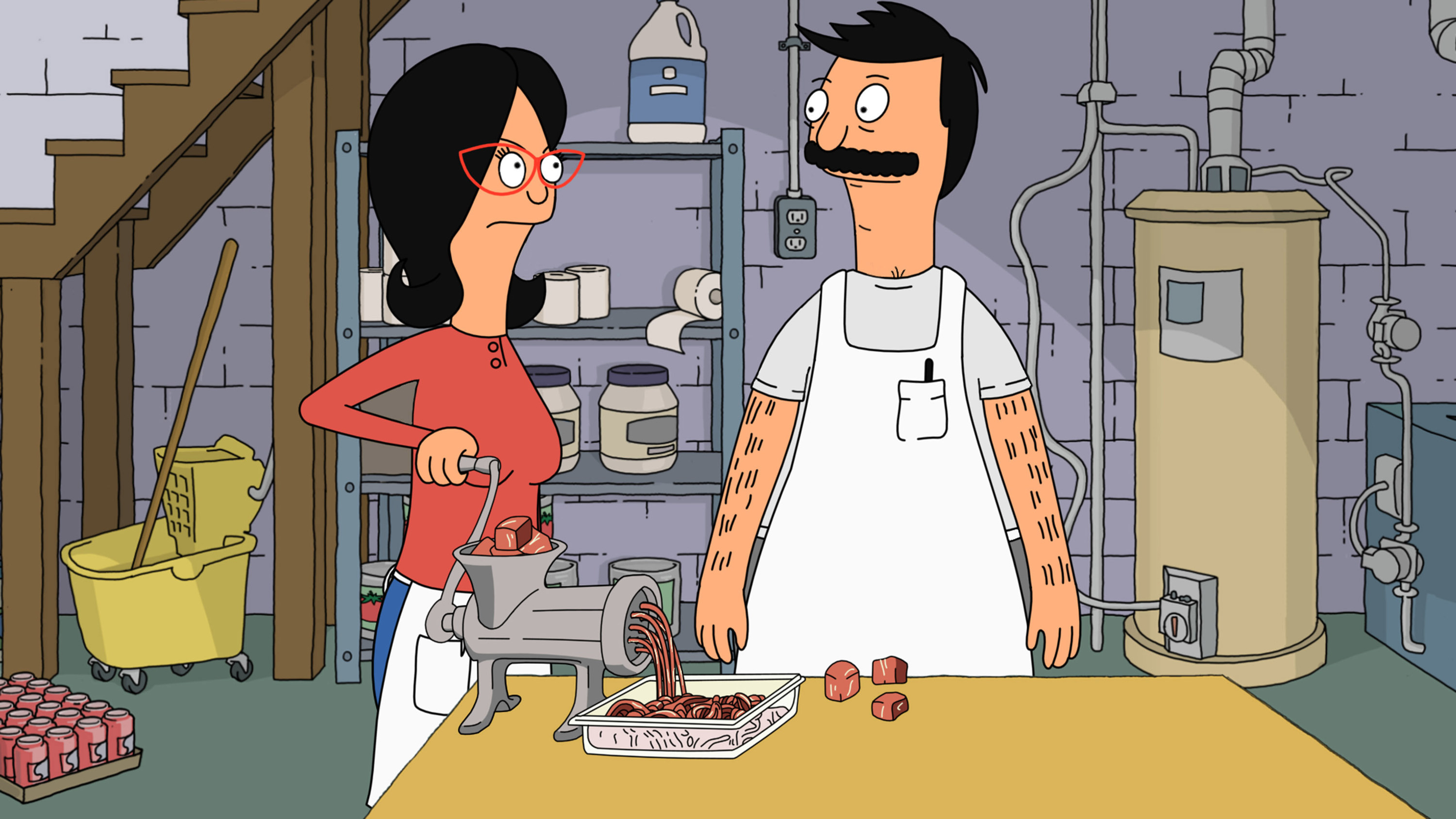 The Belchers grinding meat in their basement
