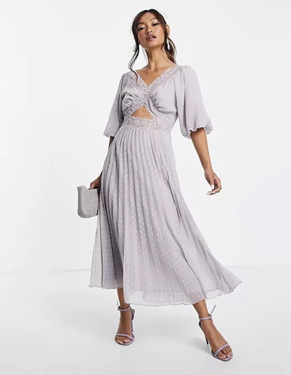 model wearing the lilac midi dress