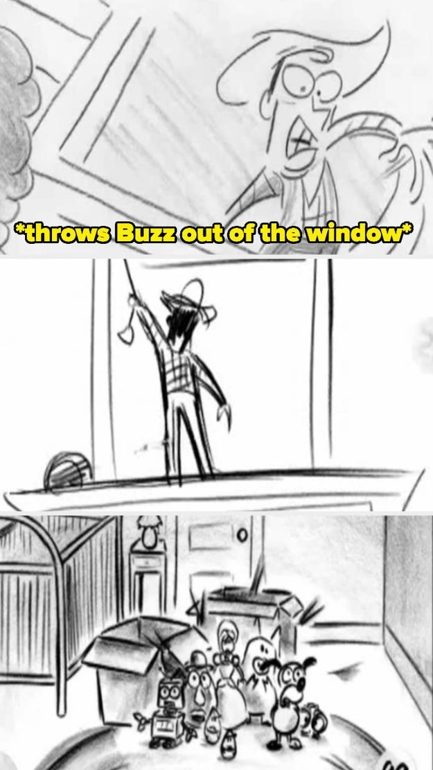 Woody throwing buzz out of the window in the test footage