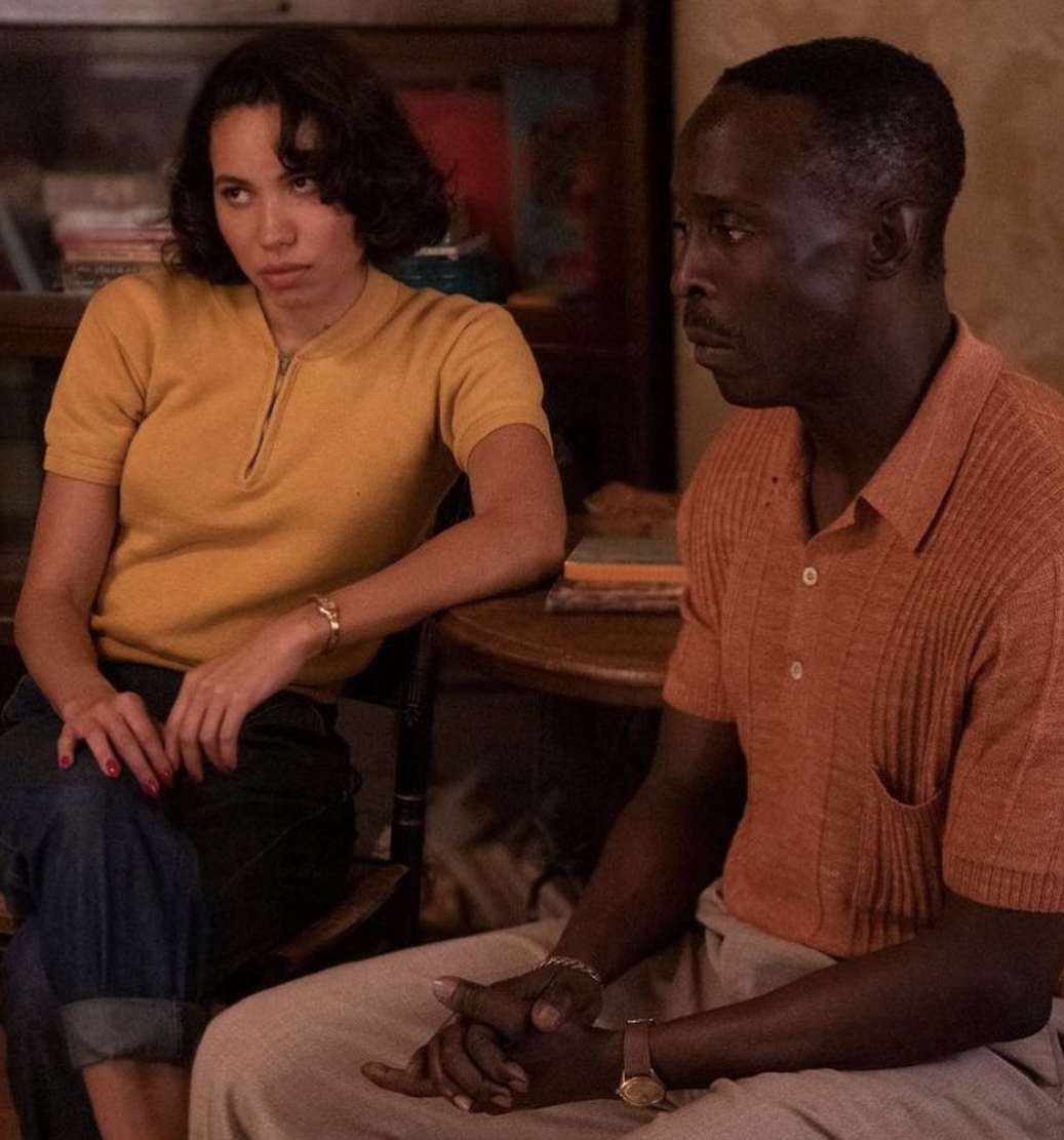 Jurnee and Michael sitting during a scene from LoveCraft Country