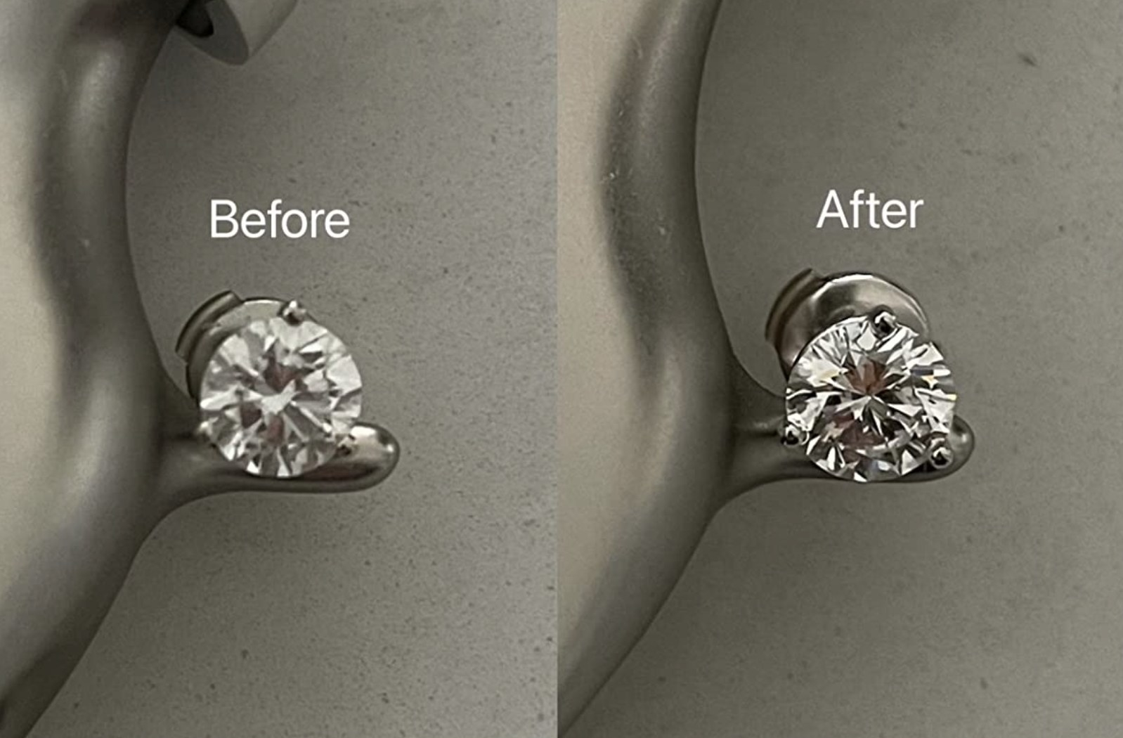 reviewer photo showing their diamond before and after using the cleaning pen
