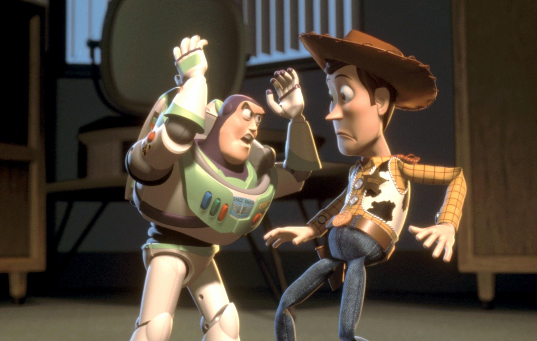 Buzz yells at Woody