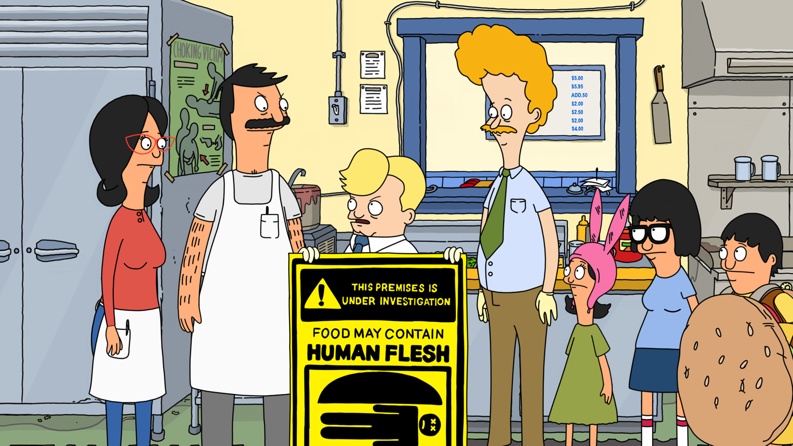 """the health inspector holding a """"food may contain human flesh"""" sign"""