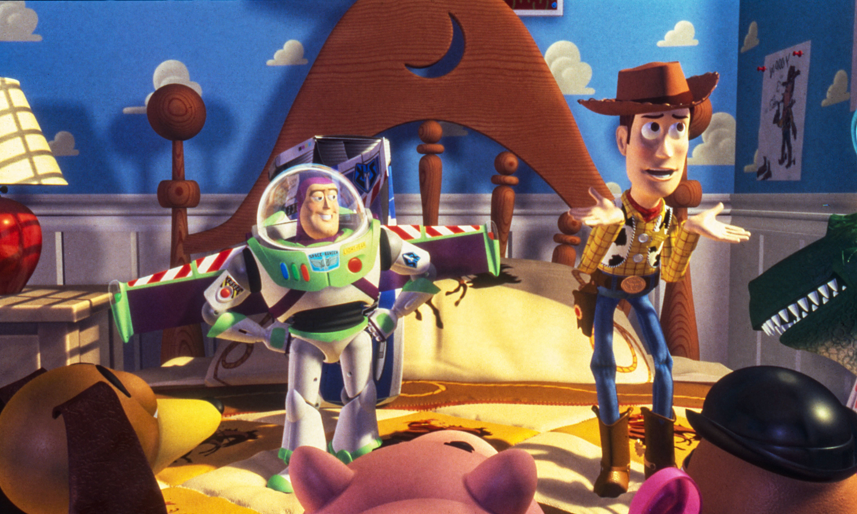 Woody shrugs while Buzz poses