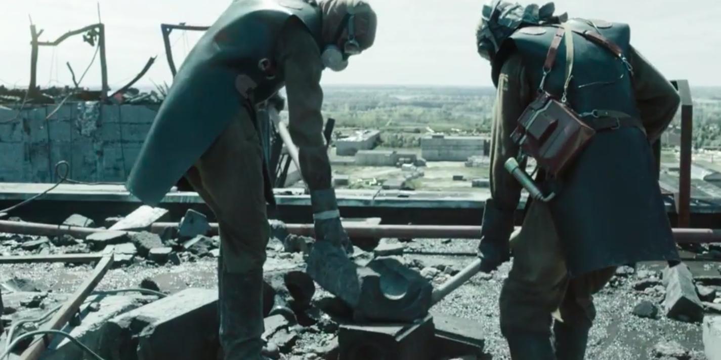 Chernobyl liquidators on the roof
