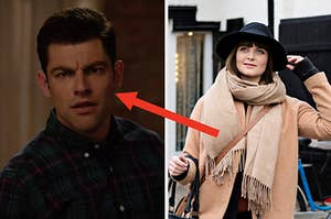 """A close up of Schmidt from """"New Girl"""" and a woman wears a wide brim hat, overcoat, and oversized scarf"""