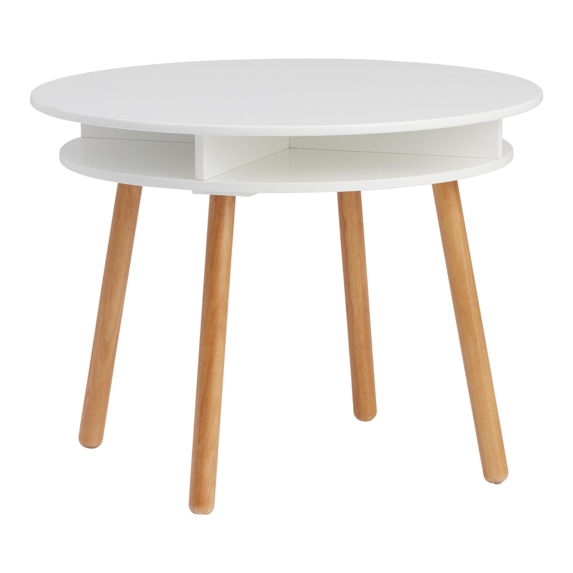 The white table with natural wood finish legs