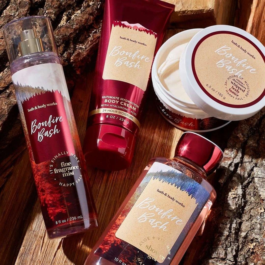 Bottles of bonfire bash fragrance, body cream, lotion, and body wash