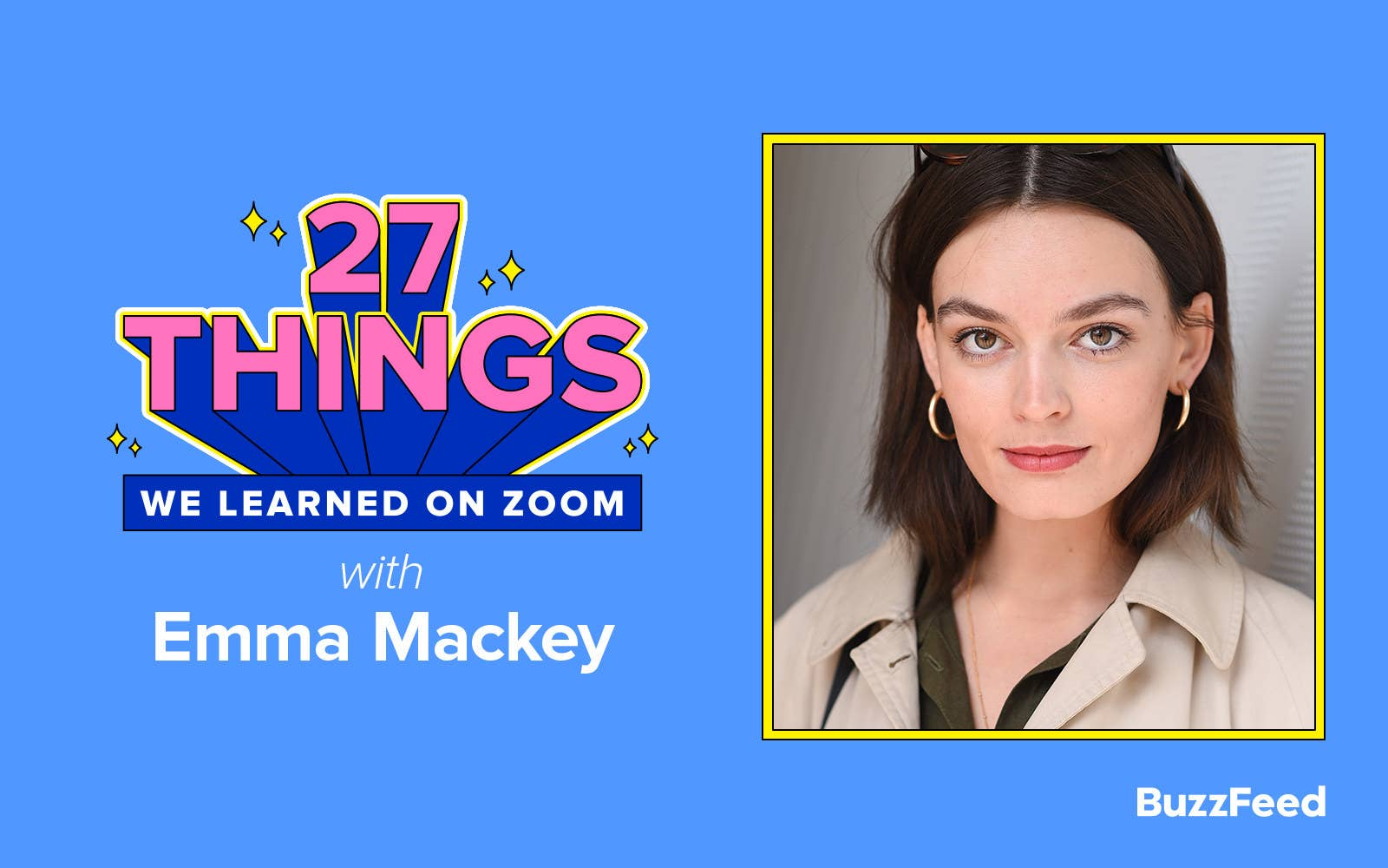 """A header reading, """"27 things we learned on Zoom with Emma Mackey"""""""