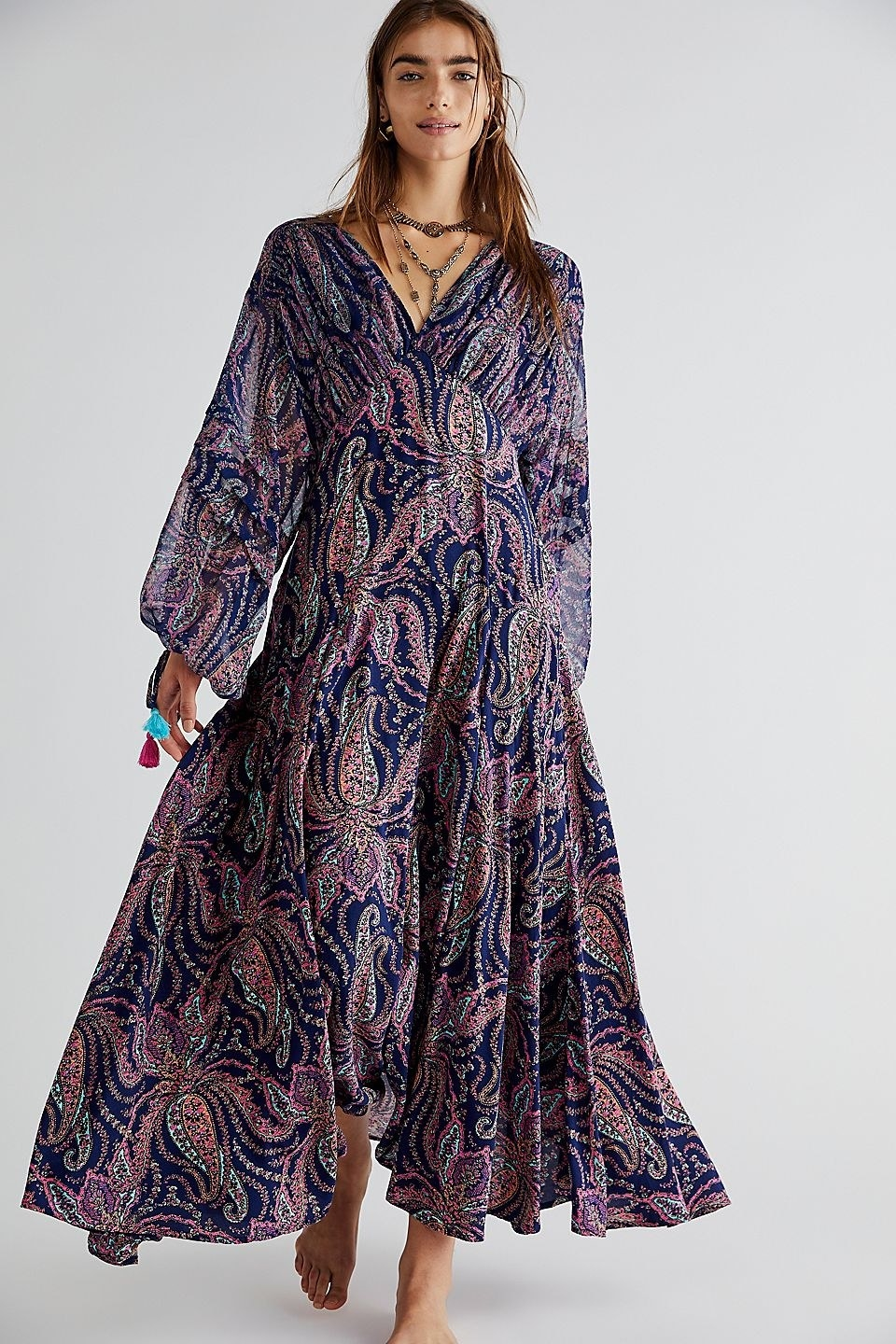 model wearing the blue and pink pattern maxi dress