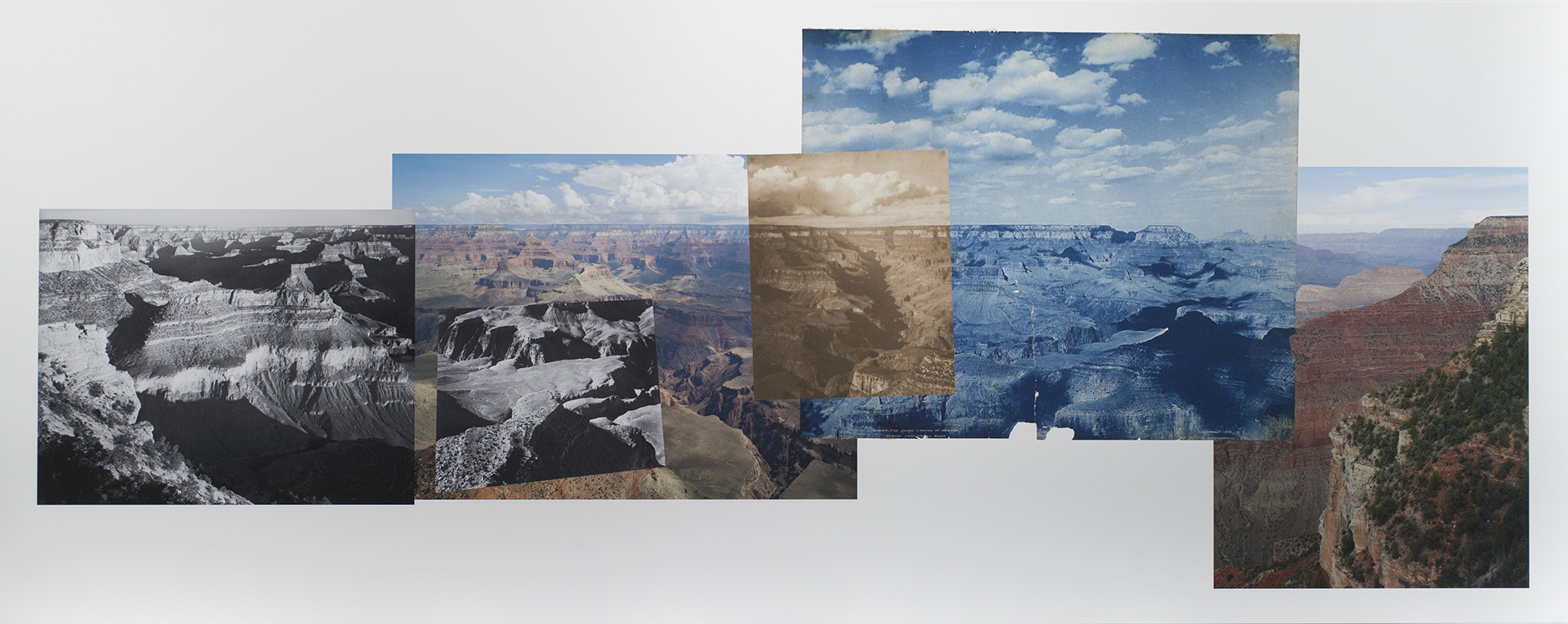 A panorama of the Grand Canyon with multiple photos stitched together