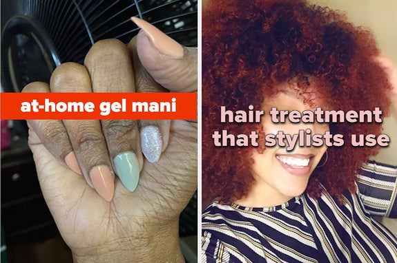 L: professional-looking at-home gel mani R: reviewer with natural hair