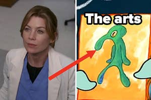 """A close up of Meredith Grey from """"Grey's Anatomy"""" and a self portrait of Squidward Tentacles from """"SpongeBob SquarePants"""""""