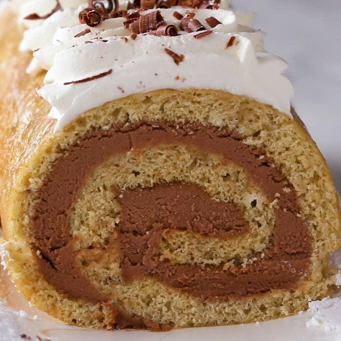 Banana Bread Chocolate Cheesecake Swiss Roll