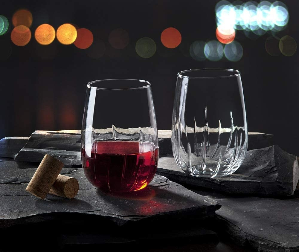 The stemless glasses with ridges that go up the side to aerate the wine when swirled