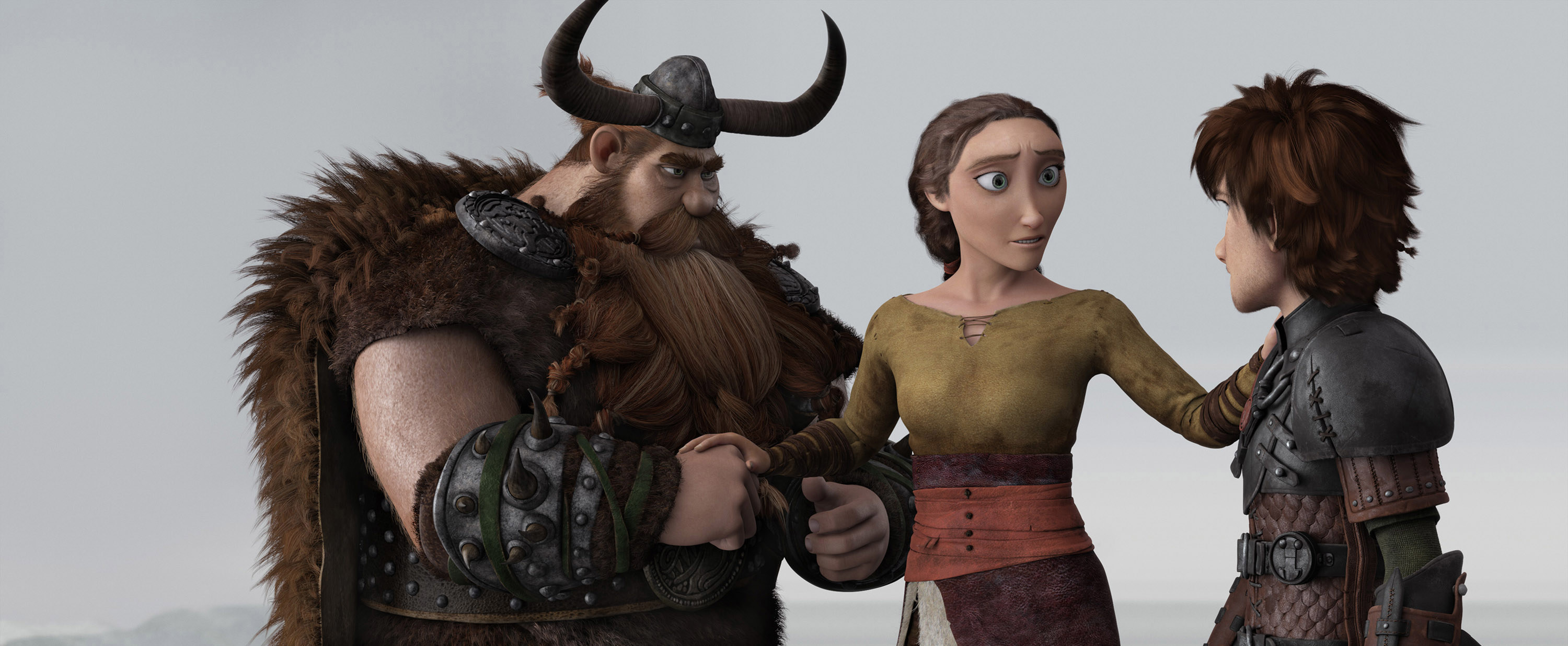 Stoick, Valka, and Hiccup