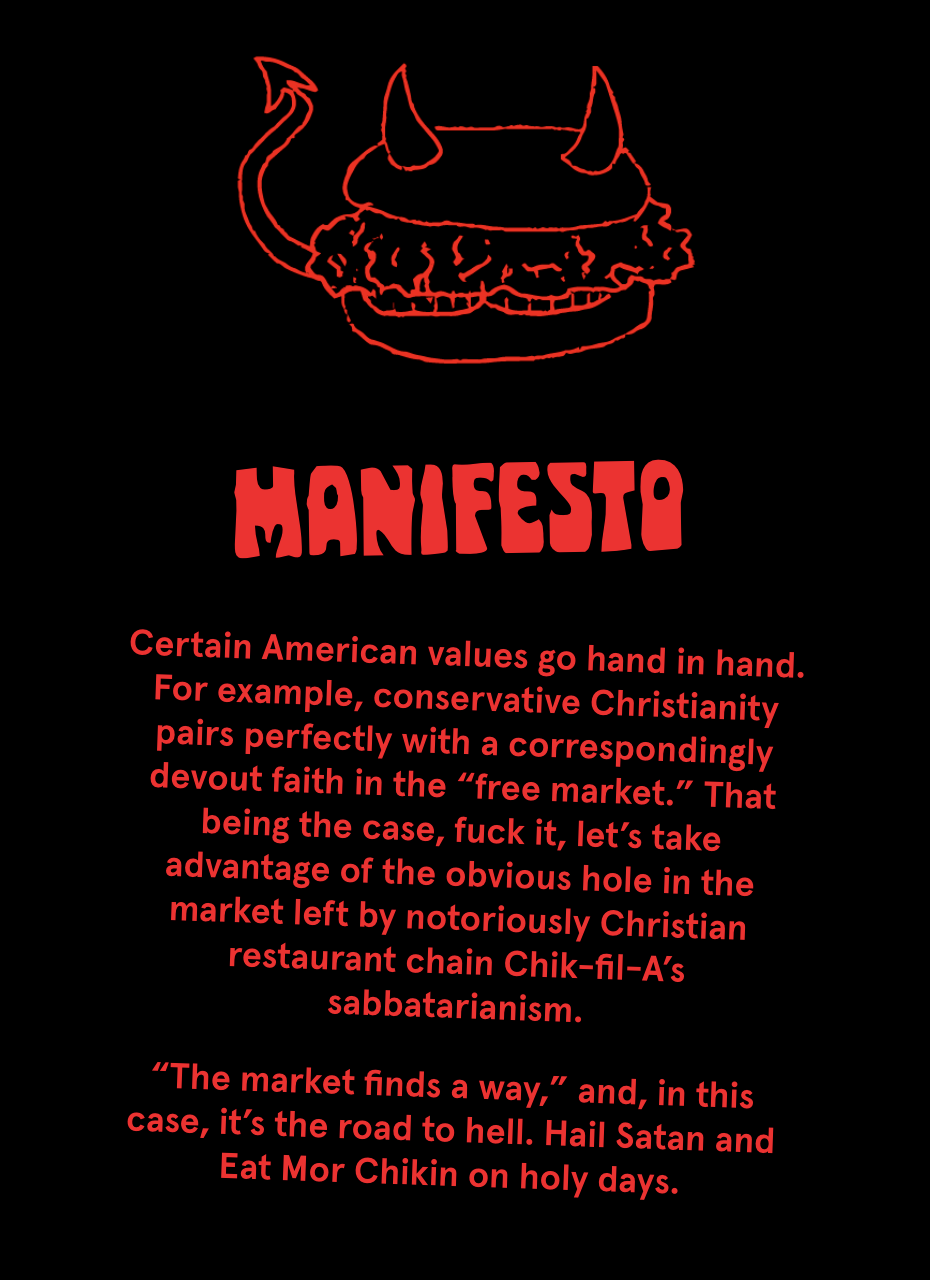"""Manifesto: """"Certain American values to hand in hand, for example, conservative Christianity pairs perfectly with a correspondingly devout faith in the 'free market'. ... Let's take advantage of the hole in the market"""""""