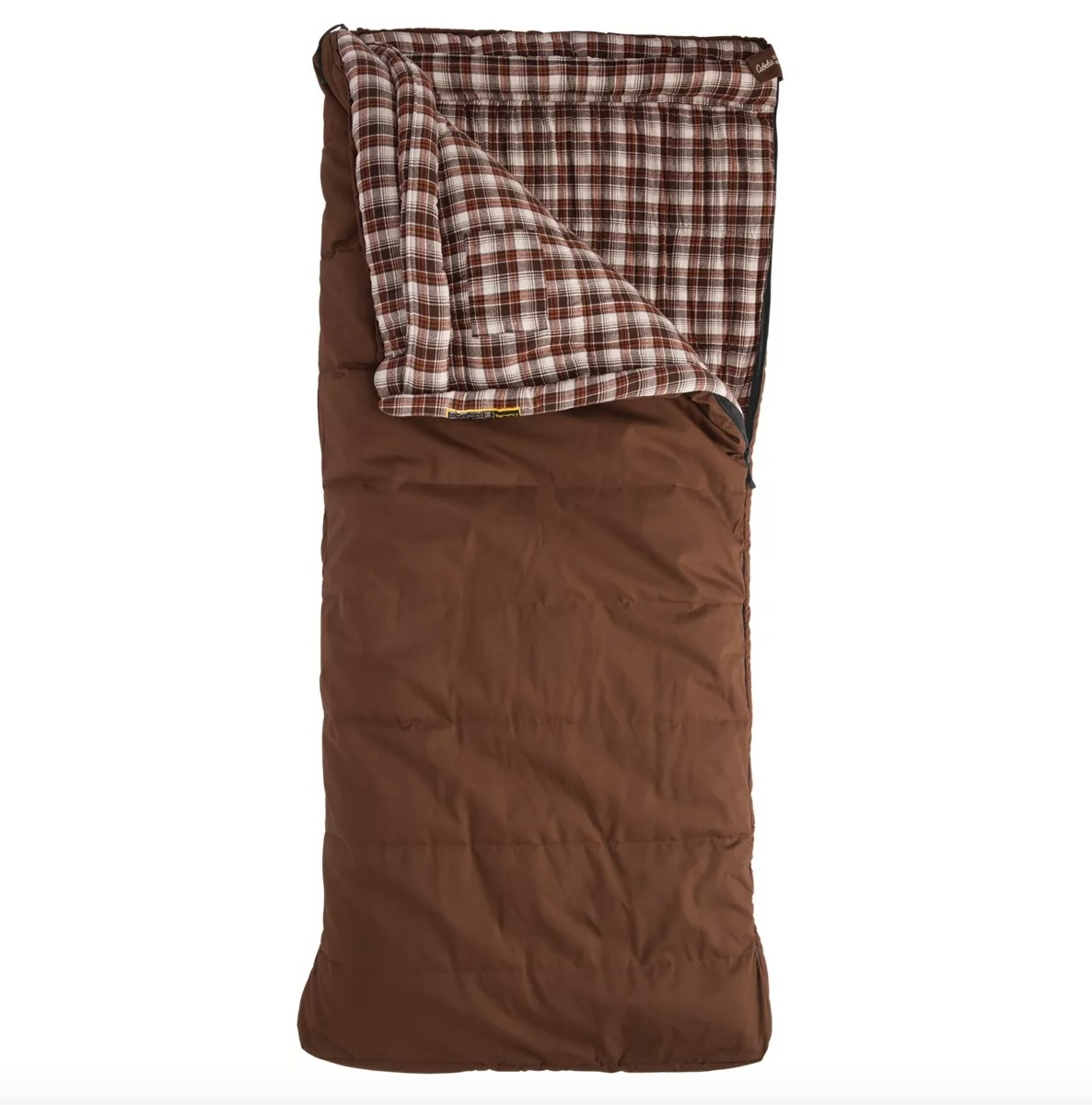 the sleeping bag in brown and plaid