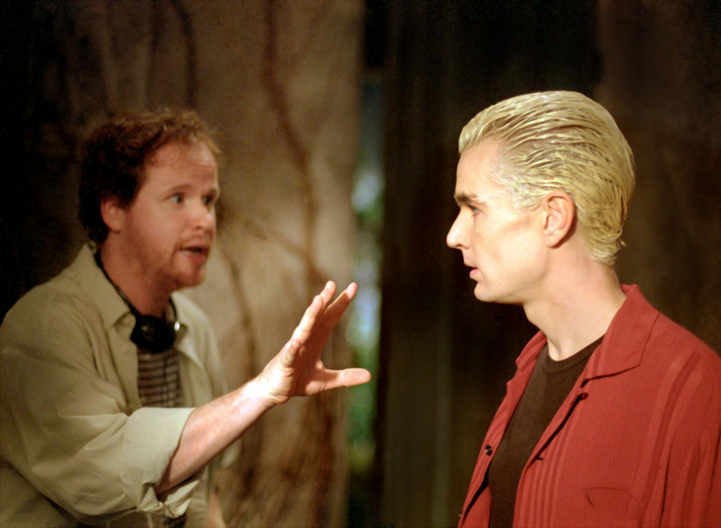 Joss Whedon directing Marsters during an episode