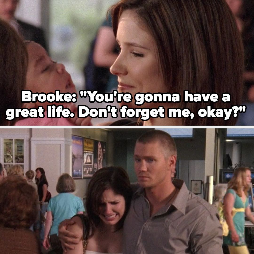 Brooke tells Angie she's going to have a great life and not to forget her, Lucas comforts her as she sobs
