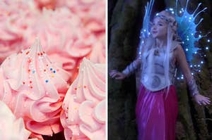 Cupcakes are shown on the left with a fairy lifting her head on the right
