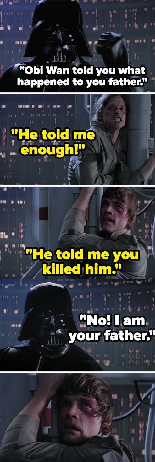 """Darth Vader telling Luke that he is his father in """"The Empire Strikes Back"""""""