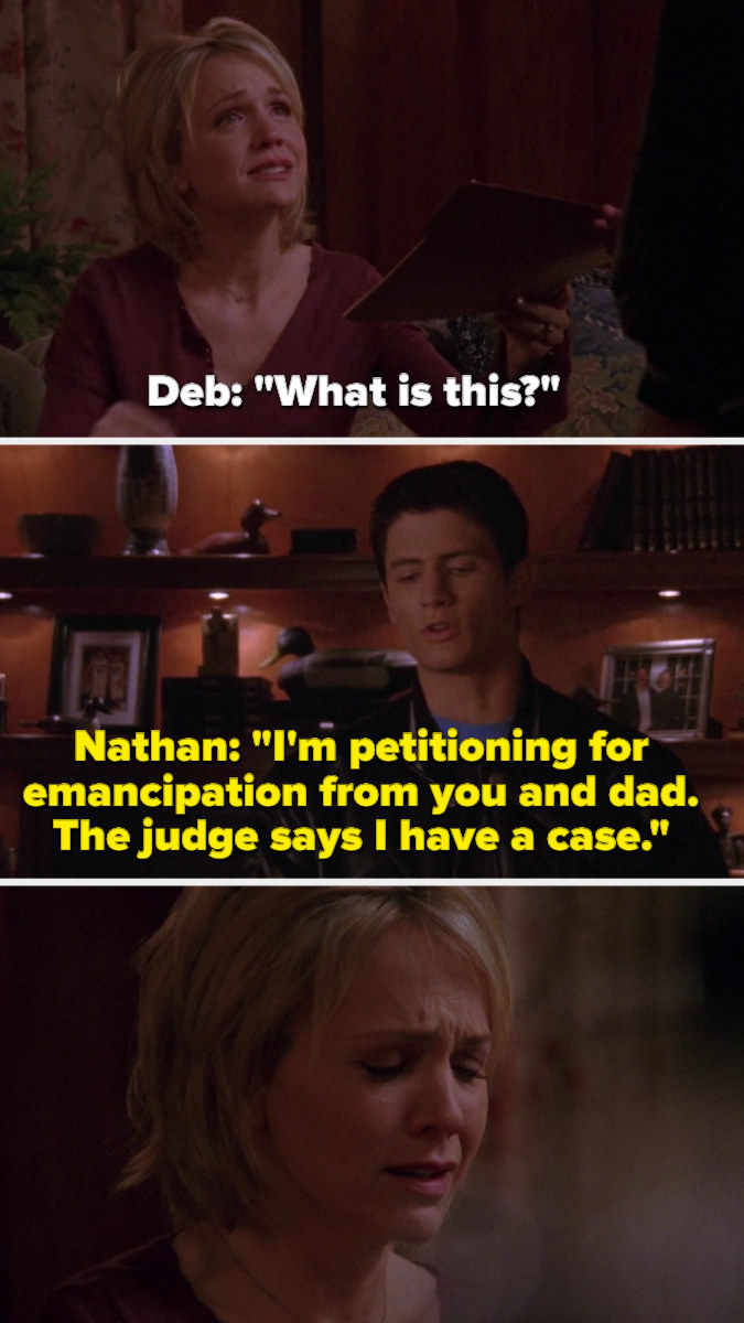 Nathan tells Deb he's petitioning for emancipation from her and Dan