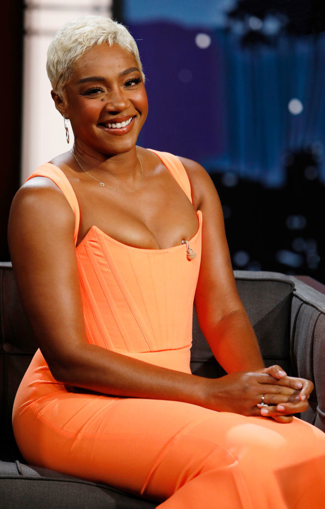 """Tiffany Haddish on """"Jimmy Kimmel Live"""" in a light-colored dress with a corset bodice"""