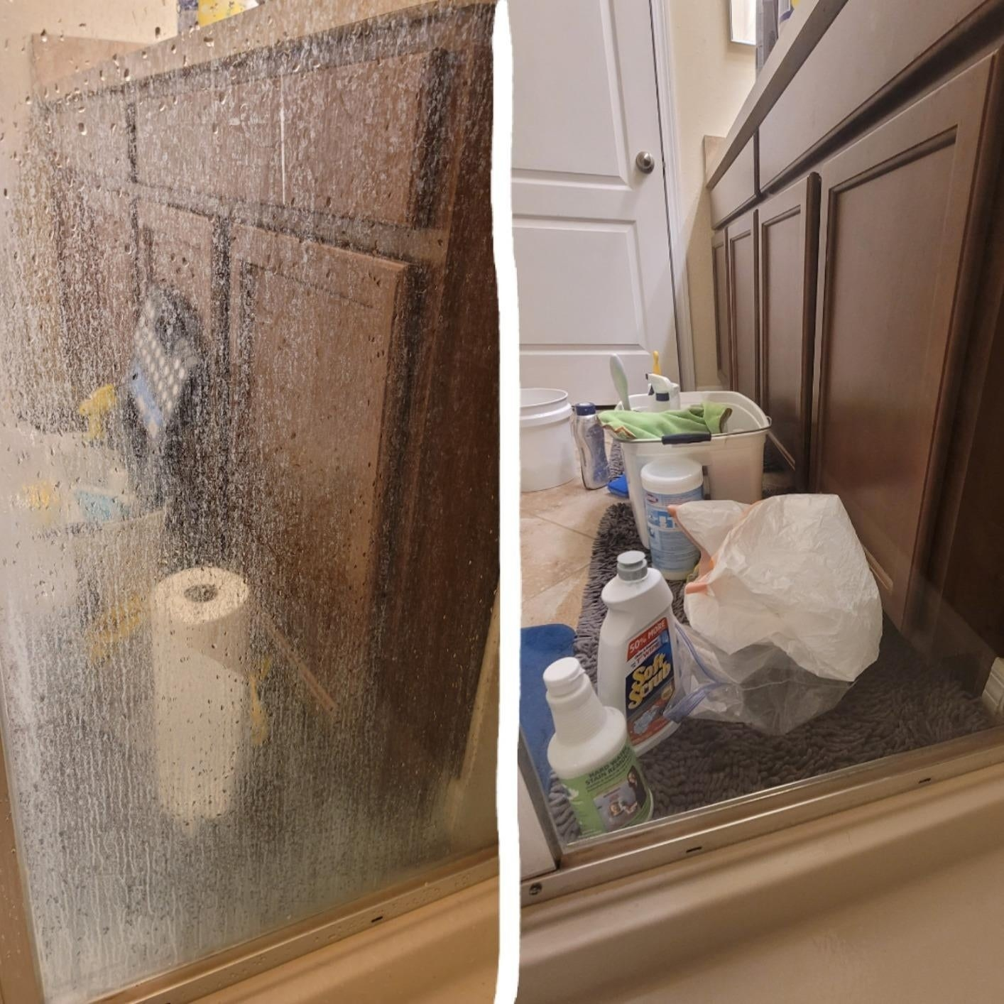 on left, water-stained clear shower door. on right, clear shower door after using the cleaner above