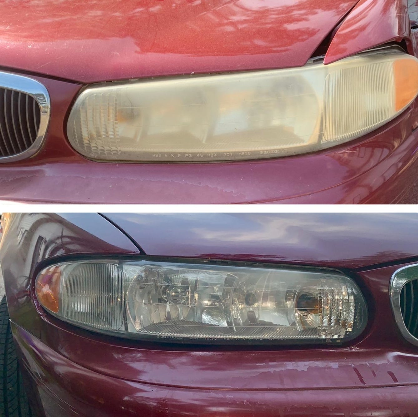 Reviewer's headlight before and after using cleaning kit