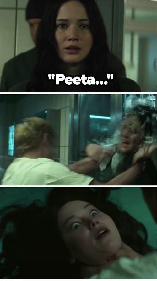 "Peeta nearly choking Katniss to death on ""The Hunger Games: Mockingjay — Part One"""