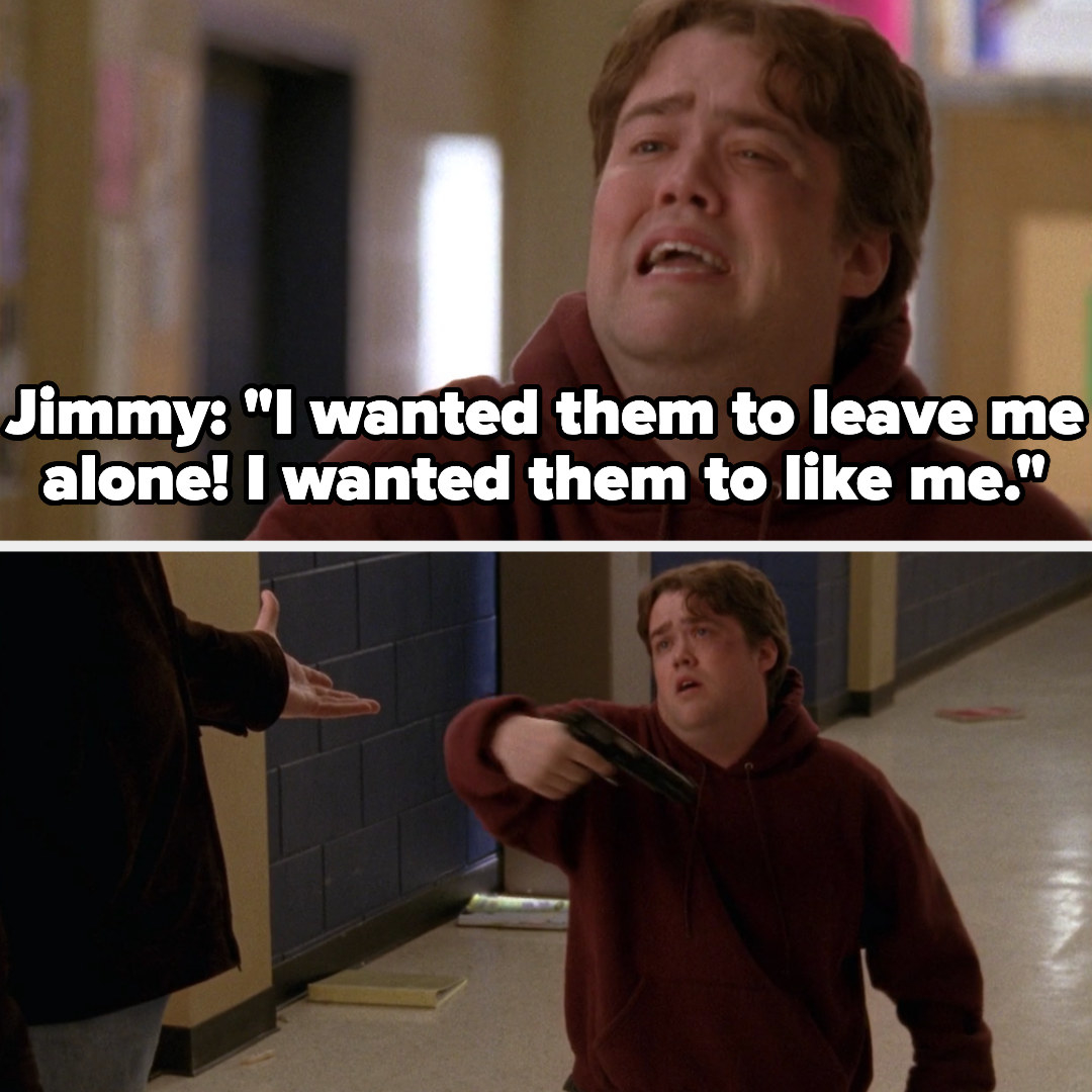 """Jimmy kneels down with a gun: """"I wanted them to leave me alone, I wanted them to like me!"""""""