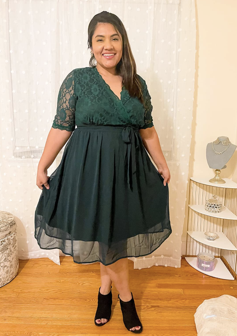 a reviewer photo of the dress in green