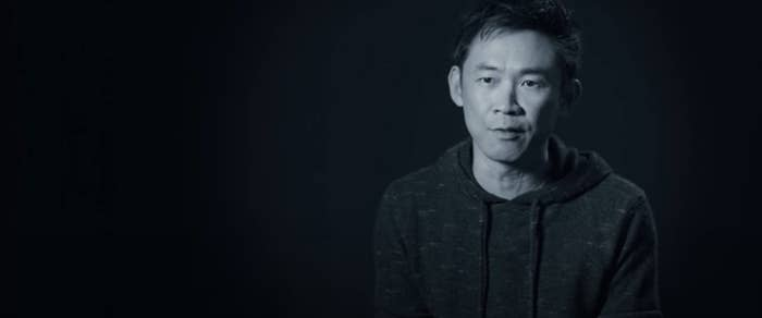 James Wan speaks to the camera in a sit-down interview