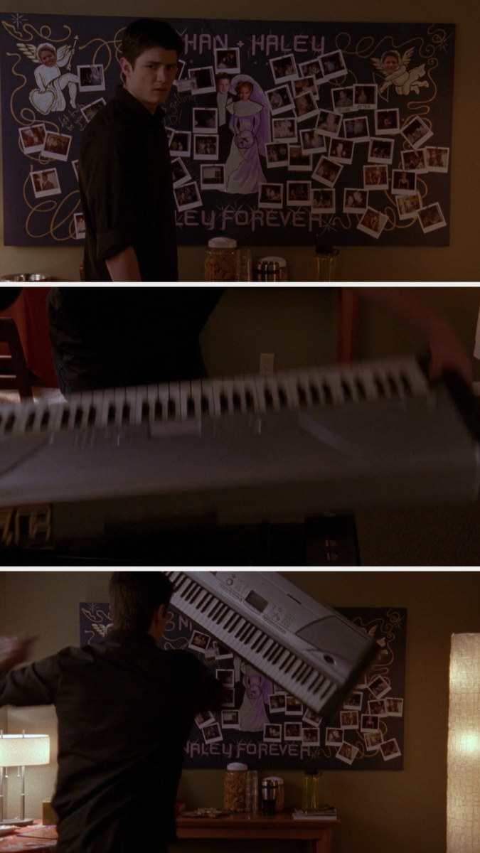 Nathan alone in apartment after Haley leaves, throws keyboard