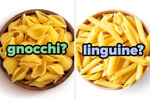 On the left a bowl of shell-shaped pasta labeled gnocchi?, and on the right, a bowl of long, thin pasta tubes labeled linguine?