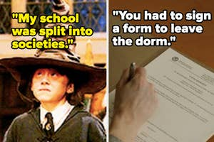 Hogwarts sorting house and person signing a contract